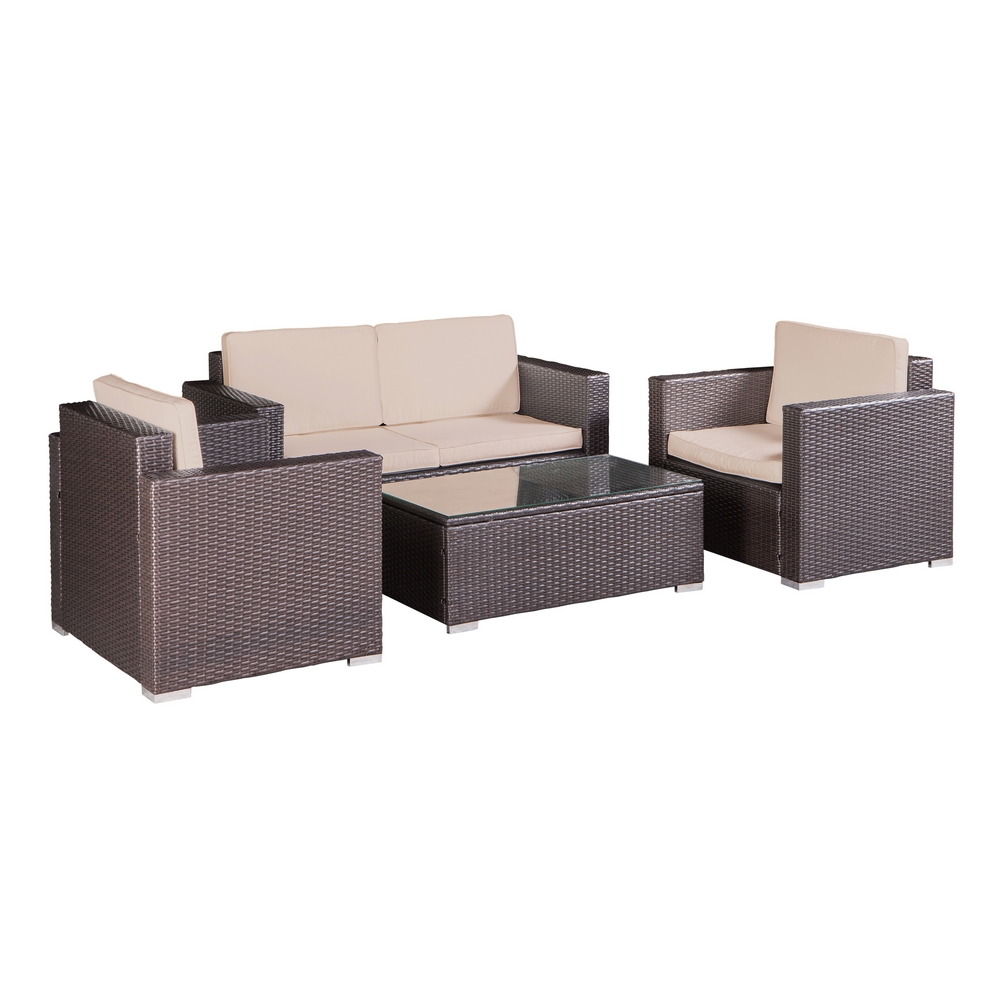 Palm Springs Outdoor 4 pc Furniture Wicker Patio Set w/ C...