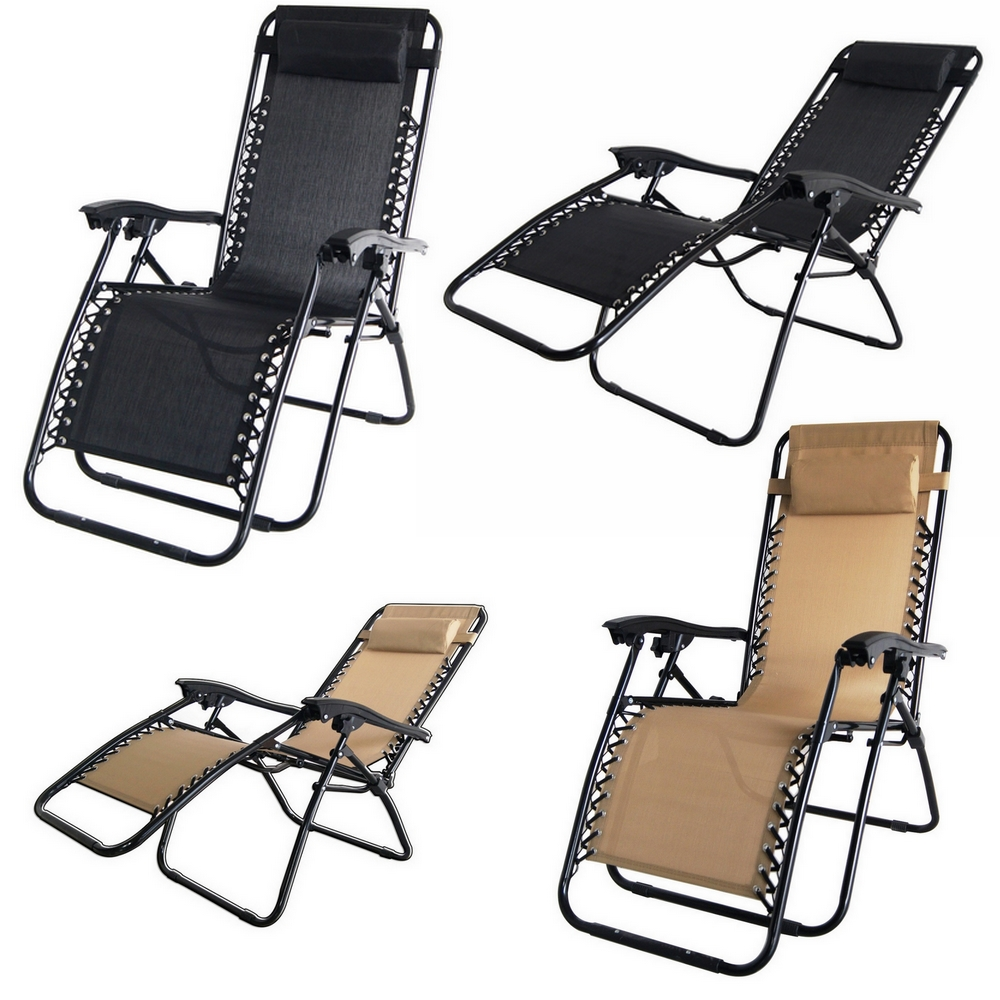 2x Palm Springs Folding Zero Gravity Recliner Chair
